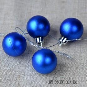 Шарик новогодний синий матовый 3 см 1 шт.
