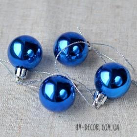 Шарик новогодний синий глянцевый 3 см 1 шт.