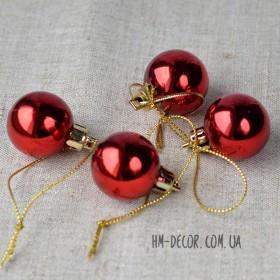 Шарик новогодний красный глянцевый 3 см 1 шт.