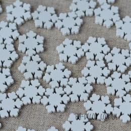 Снежинка 007 деревянная белая мини 2 см