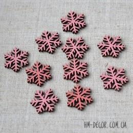 Снежинка 008 деревянная розовая мини 3 см