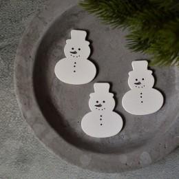 Снеговик деревянный белый мини 4*5 см