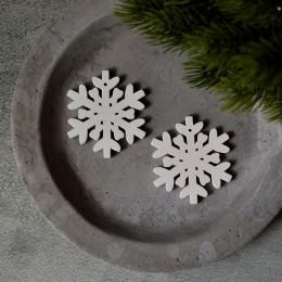 Снежинка 003 деревянная белая 50 мм 1 шт.