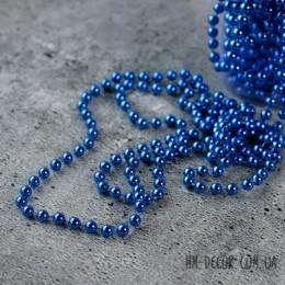 Бусы на нитке новогодние синие 8 мм 1 м