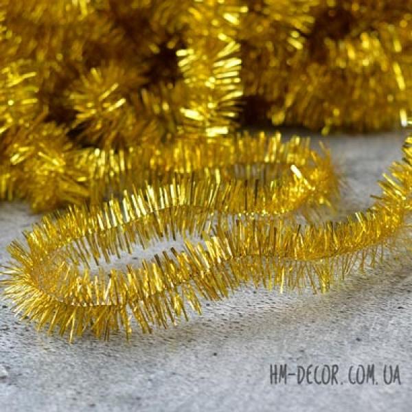 Дождик на елку золото 2,5 см 2 м