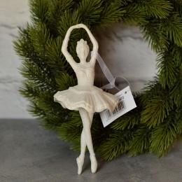 Балерина подвеска белый глиттер 18 см