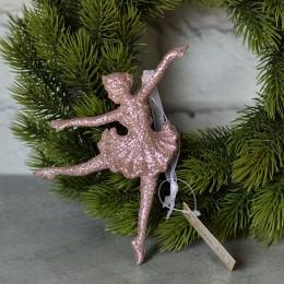 Балерина подвеска розовый глиттер 9*15 см