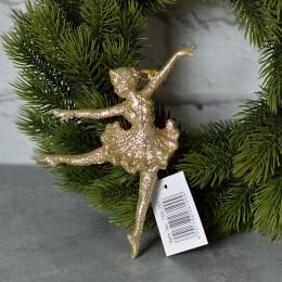 Балерина подвеска золото глиттер 9*15 см