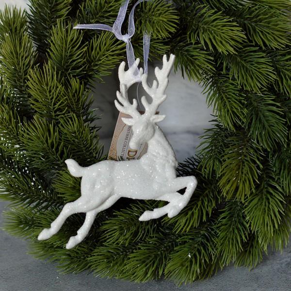 Олень подвеска белый глиттер 11*12 см