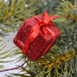Подарок  на проволоке красный 2,5 см