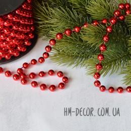 Бусы на нитке новогодние красные 6 мм 1 м