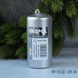 Свеча серебро цилиндр 5*10 см