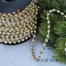 Бусы на нитке новогодние холодное золото 6 мм 1 м