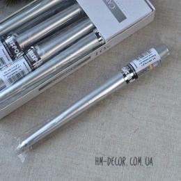 Свеча серебро конус 25 см
