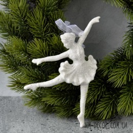Балерина подвеска белый глиттер 9*15 см