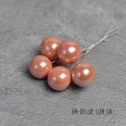 Жемчужные шарики на проволоке персиковые 5 шт.