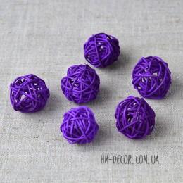 Шарик из ротанга фиолетовый 3 см 1 шт.