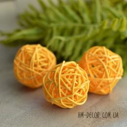 Шар из ротанга оранжевый 5 см