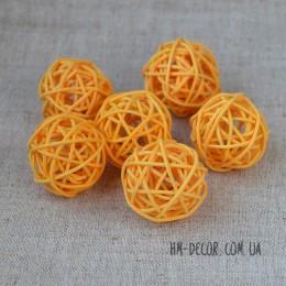 Шарик из ротанга оранжевый 3 см