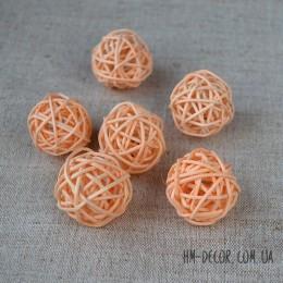 Шарик из ротанга персиковый 3 см