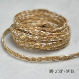 Тесьма из мешковины бело-коричневая плоская 8 мм 1 м