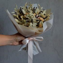 Букет из сухоцветов 101 с белой статицей и гомфреной 25 см