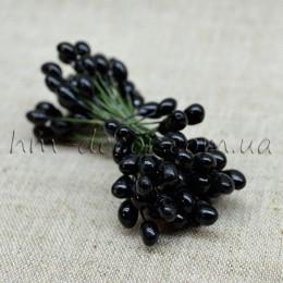 Тычинки на проволоке глянцевые черные 5 мм