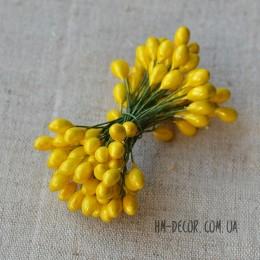 Тычинки на проволоке глянцевые желтые 5 мм