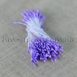 Тычинки на нитке глянцевые светло-фиолетовые мелкие