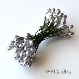 Тычинки на проволоке глянцевые серебро 5 мм