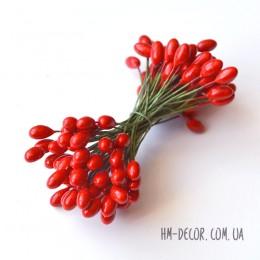 Тычинки на проволоке глянцевые красные 5 мм