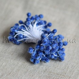 Тычинки на нитке сахарные синие 4-5 мм