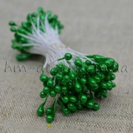 Тычинки на нитке глянцевые зеленые