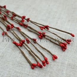 Веточка с красными тычинками 40 см