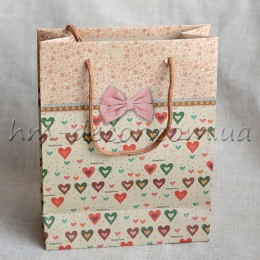Крафт-пакет 18*23 коричневый с сердечками