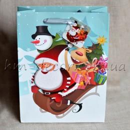 Пакет новогодний Санта на санках 18*24 см