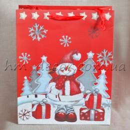 Пакет новогодний Снеговик 26*32 см