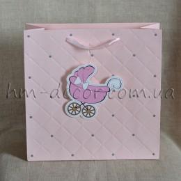 Пакет детский розовый 28*28 см