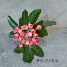 Ягоды на ветке розовые 22 см