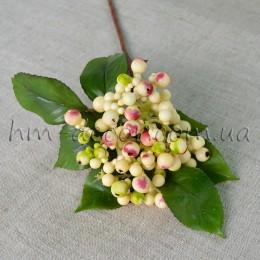 Искусственные бежевые ягоды на ветке 30 см