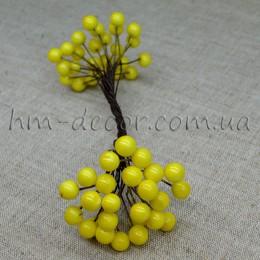 Ягоды глянцевые желтые на проволоке 50 шт. 8 мм