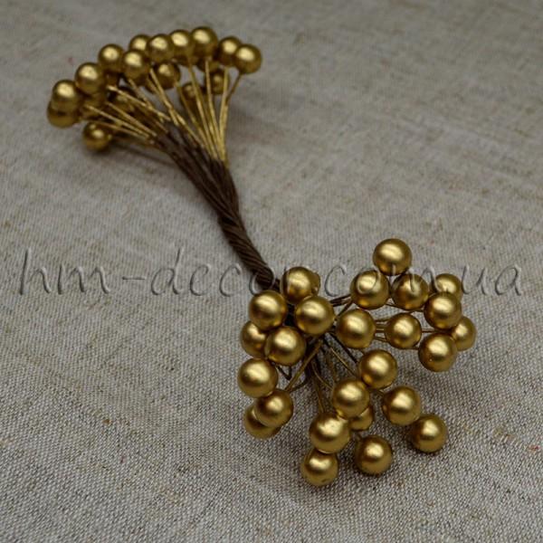 Ягоды глянцевые золотые на проволоке 50 шт. 8 мм