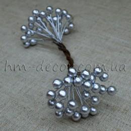Ягоды глянцевые серебро на проволоке 50 шт. 8 мм