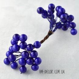 Ягоды глянцевые синие на проволоке 40 шт. 1 см