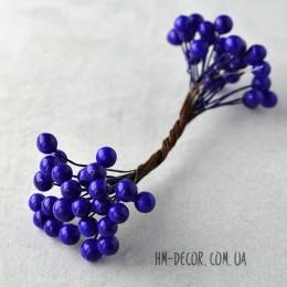 Ягоды глянцевые синие на проволоке 50 шт. 8 мм
