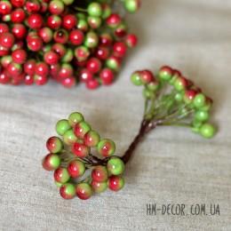 Ягоды глянцевые оливково-красные на проволоке 40 шт. 1 см