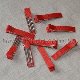 Заколка для волос металлическая в красной репсовой ленте 5 см