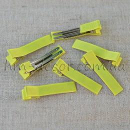 Заколка для волос металлическая в желтой репсовой ленте 5 см