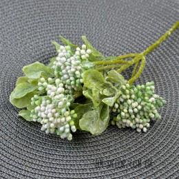 Ветка с бело-зелеными ягодами с напылением 32 см