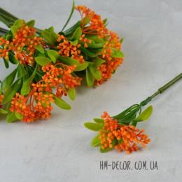 Ветка одинарная с оранжевым соцветием 35 см
